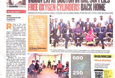 Indian Expat Doctor in UAE supplies free oxygen cylinders back home
